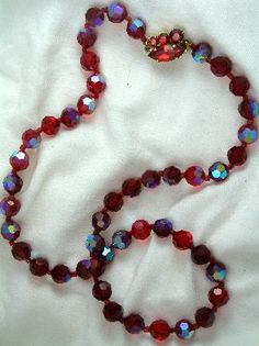 Hot Red AB  Lead Crystal Necklace
