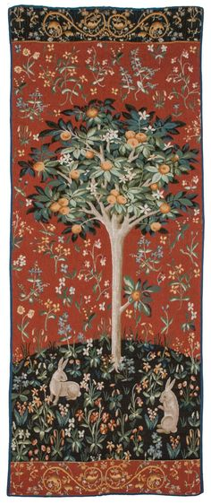 "RRA 30"" x 75"" Medieval Orange Tree Wall Tapestry Gobelin 2005 