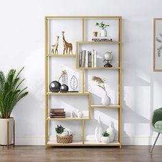 Gold Bookshelf, Gold Shelves, Modern Bookshelf, Metal Shelves, Display Shelves, Open Shelving, Storage Shelves, Step Bookcase, Wall Bookshelves