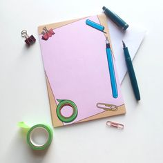 I love how meta stationery can be. Thoughtful Types creates stationery for the paper lover, featuring pens, washi tape, clips, etc. How could you resist?