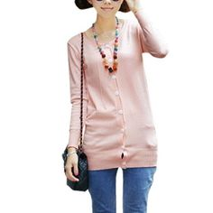 Allegra K Ladies Pink Round Neck Long Sleeve Tunic Cardigan XS Allegra K. $13.45