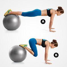 Crunch invertido sobre fitball; uno de nuestros ejercicios abdominales favoritos