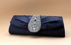 Royal look Navy Blue Satin Rhinestone Evening/Wedding Formal Clutch Purse Bag   eBay