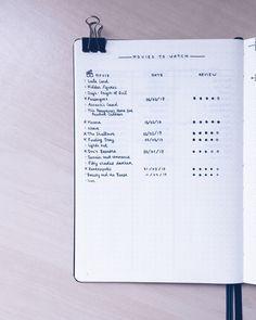 Chloe's Movies to Watch Log in her Bullet Journal