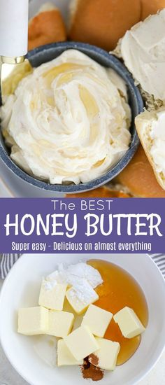 The BEST and easiest Honey Butter! A mixture of sweet honey and creamy butter with a touch of cinnamon and a splash of vanilla extract. A sweet and delicious topping for biscuits muffins rolls bread sweet potatoes pancakes waffles and more! Flavored Butter, Homemade Butter, Homemade Vanilla, Butter Extract, Sauces, Best Nutrition Food, Nutrition Websites, Nutrition Products, Sports Nutrition
