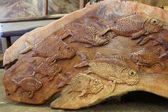 Hand Carved Fish Wall Hanging or Headboard  WoodWorkingHawaii.com Koa Furniture - Kini @ WoodWorkingHawaii 808-227-9473  koa furntiure, reclaimed wood, night stands, real wood furntiure, koa wood, slab furniture, custom furniture, wood,