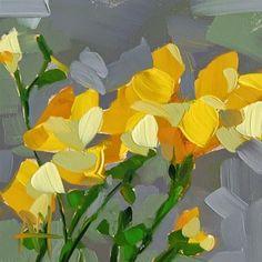 """Yellow Freesia Painting"" original fine art by Angela Moulton"