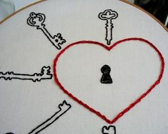 Hand Embroidery Hoop  Love Lock by Moxiedoll