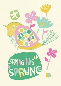 bird  floral spring has sprung design illustration print greetings card victoriajohnsondesign.com
