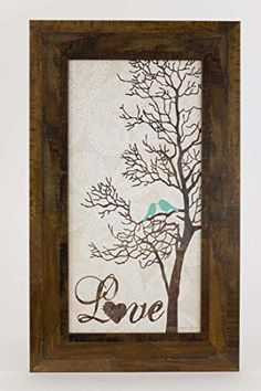 Love Tree Restoration Restored Bird Tree Blue Framed Art Decor 10x16 * See this great product. (Note:Amazon affiliate link)