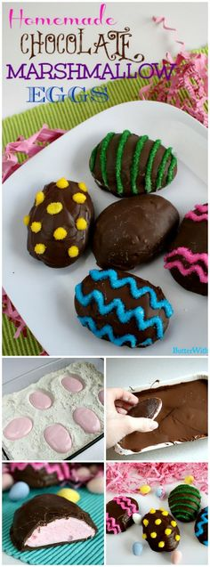 Homemade Chocolate Marshmallow Eggs- SO fun and better than store bought! Butte… Homemade Chocolate Marshmallow Eggs- SO fun and better than store bought! Butter with a Side of Bread Homemade Marshmallows, Chocolate Marshmallows, Homemade Candies, Homemade Butter, Easter Candy, Easter Treats, Easter Eggs, Easter Food, Holiday Treats