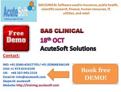 Acutesoft offers best SAS Clinical Online Course & Online Training.SAS is a   software suite that can mine, alter, manage and retrieve data from a variety   of sources and perform statistical analysis on it.SAS provides a graphical   point-and-click user interface for non-technical users and more advanced   options through the SAS programming language.