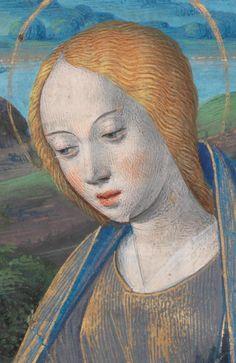 "(detail) Manuscript illuminator Jean Bourdichon, ca 1500, ""Visitation, meeting between Mary and her cousin Elizabeth"", Tours."