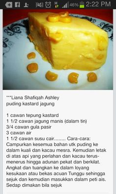 Puding kastad jagung Pudding Desserts, No Bake Desserts, Easy Recipes, Easy Meals, Custard Pudding, Easy Cooking, Crepes, Juices, Jelly