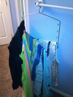 Hanging tank tops on my Honey-can-do pant rack cleared a whole drawer in the dresser! Thank you Grandma!