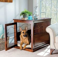 Palos Designs Coventry Wood and Metal Pet Crate Table – Large - Dog Kennel Dog Crate End Table, Wood Dog Crate, Dog Crate Furniture, Large Dog Crate, Large Dogs, Dog Crates, Furniture Ideas, Crate Bed, Metal Dog Kennel