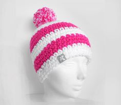 Pompom Bobble Beanie - White & Hot Neon Pink Stripey Crochet Winter Hat Snowboard Ski Surf Skate #pompomhat #CrochetHat