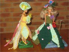 Le défilé des créations -stylistes : Barbie-fleur - Lolo Barbie Clothes, Doll Toys, Crochet, Creations, Lolo, Gowns, Knitting Ideas, Princess, Dragon
