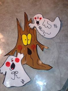 set of 3 Halloween embellishments ghosts with a spooky tree