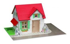 Construcion kit with real bricks of a house. The building blocks can be reused because the cement is dissolved in water. Contains: construction bricks, cement , wood building components, spatula, bowl, plate and a foam board with figures.