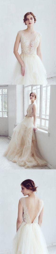 Tulle Applique Wedding Dress, Charming Wedding Dress, Beading Wedding Dress, #OKBRIDAL.CO.UK