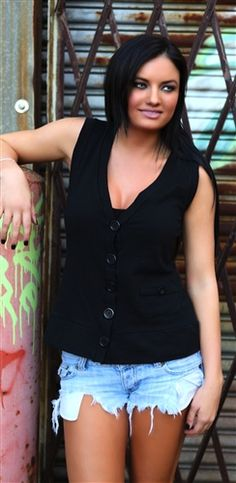sexy trendy black vest work casual button up tops