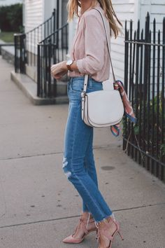 blush wrap blouse paige straight leg jeans ann taylor heels prosecco and plaid-2