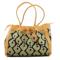 Ardmore Ceramics Fabric and Leather Handbags: Croco Lime Light