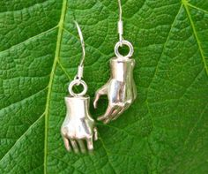 Sterling Silver Hand Earrings, Hand, Therapy, Massage, Healing Jewelry