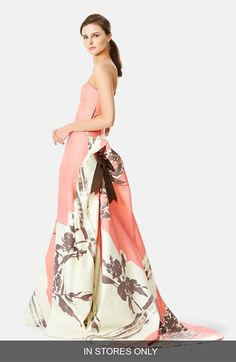 Carolina Herrera Colorblock Floral Strapless Faille Gown (In Store Only) available at #Nordstrom