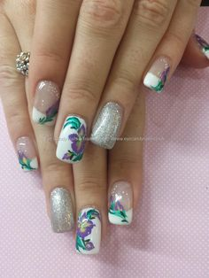 White gel polish with one stroke flower nail art