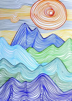 Lines can depict any shape; they can create tridimensional effects and give the perception of movement. I did this drawing with grade students, in order to create a mountain landscape using jus… to drawing mountains Mountains made up of lines Middle School Art, Art School, High School, Elements Of Art Line, Line Art Projects, Garden Projects, 6th Grade Art, Art Lesson Plans, Art Classroom