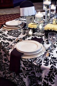Wedding black and white with yellow florals.