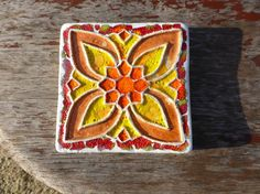 TileCoasterspainted  with red  orange and by EstudioBarroAlto