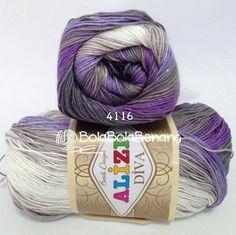 ALIZE DIVA BATIK 4116, Price: 90.000,-/gulung, Bahan: 100% Microfiber Akrilik, Berat/Panjang: 100gr/350m, Knitting Needles: 2,5mm – 3,5mm, Crochet Hook: 1mm - 3mm