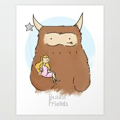My Monster and Me - bestest friends Art Print by Kaye Sedgwick - $18.00