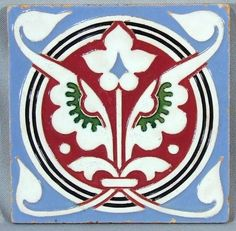 English Maw Majolica Tile of Flowers Victorian Tiles, Antique Tiles, Victorian Era, Art Nouveau Tiles, Art Deco, Tile Art, Mosaic Tiles, Style Tile, Ceramic Design