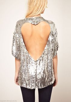 metallic heart backless top-perfect for holiday parties!