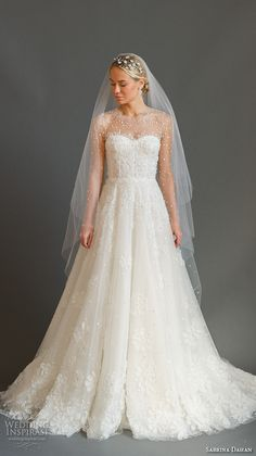 SABRINA DAHAN  bridal fall 2016 jewel neckline illusion long sleeves  sweetheart foundation pretty a line 19eb375fa2