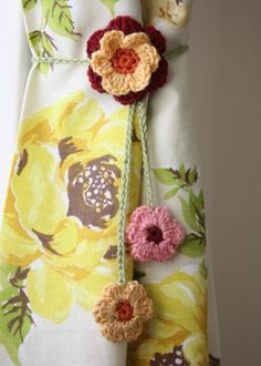 Turn your favorite crochet motif into curtain tie backs.    Cherry Heart: Simply does it