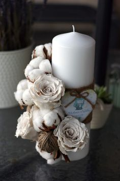 Candels, Pillar Candles, Diy Flowers, Flower Diy, Mocha Cake, All Saints Day, Winter Magic, Christening, Flower Power