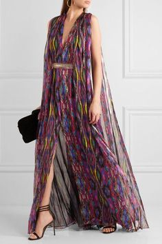 Matthew Williamson - Sweetie Ragadang Embellished Printed Silk-chiffon Gown - Fuchsia - UK12