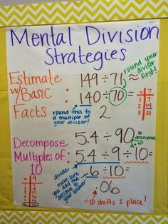 Mental Division Strategies Anchor Chart http://keepcalmandteachfifthgrade.blogspot.com/2015/01/mental-division-strategies-anchor-chart.html #iteachtoo #iteach5th #division #engageny #math