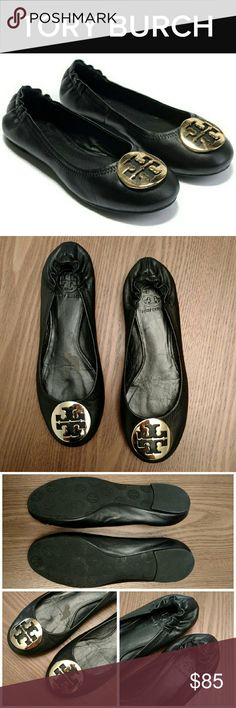 Tory Burch Reva Ballet Flats The perfect slip-on-and-go shoe for effortless chic, Tory's Reva Flat is a close cousin of the genuine ballerina slipper, with a little extra structure for support and comfort.  Black leather with gold toned emblems.  These shoes have been gently worn and have a few scuffs. The right shoe has a wear mark on the insole caused by removing a store sticker. (See photos).  The scuffs could probably be removed with some leather polish.  Size 7. Tory Burch Shoes Flats…