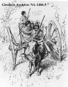 "Metis family in Red River cart.    Date: 1879    Remarks: ""Harper's Monthly"", June 1879, page 21. Original in Glenbow Library."
