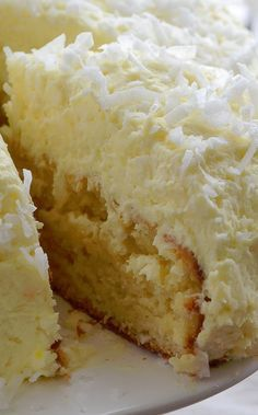 Coconut Cream Cake with Coconut Cream Frosting--Our Favorite type of Easter Cake ♥