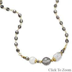 """16""""   2"""" Gold Tone Multistone Fashion Necklace"""