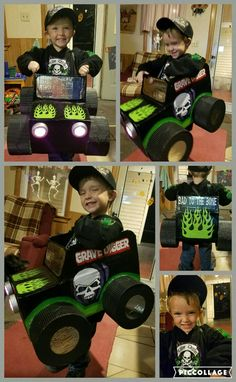 My son's monster truck halloween costume. He wanted to be grave digger and that's what he got! halloween monster truck grave digger cool costume toddler costume different Monster Truck Costume, Monster Trucks, Monster Truck Birthday, Monster Jam, Toddler Boy Halloween Costumes, Halloween Infantil, Diy Halloween Costumes For Kids, Diy Boys Costume, Logan Halloween