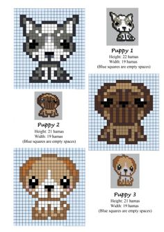 Puppies / Puppy / Dogs - cross stitch or Hama beads pattern grille pour… Perler Bead Designs, Hama Beads Design, Diy Perler Beads, Hama Beads Patterns, Perler Bead Art, Beading Patterns, Embroidery Patterns, Beaded Cross Stitch, Cross Stitch Embroidery
