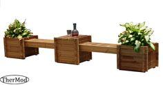 Organic wood Gardening Planter Box Bench Contessa #THERMOD